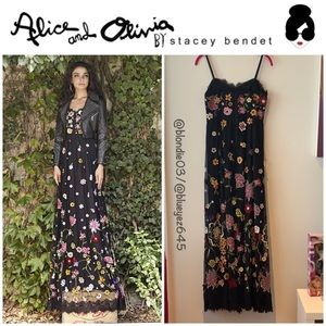 Alice & Olivia black embroidered maxi dress 4